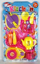 Girl's 11 Piece Pretend Play KITCHEN PLAY SET -Utensils, Cookware & Crockery Set