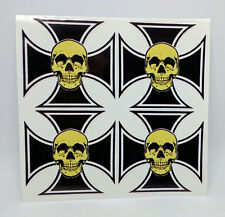 """2"""" Skull & Iron Cross DECALS, Vinyl STICKERS, 4 Pack, for hard hat, hot rod, etc"""