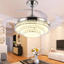 """Crystal Invisible Ceiling Fan Light LED Chandelier Silver Fan Lamp  +Remote 42"""""""