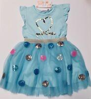 NEW FUNKY BABE BQT Girls Blue Tutu Dress Princess Party Sequins Dots Size 1