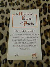 LA NOUVELLE REVUE DE PARIS - N° 12 : Henri POURRAT - Décembre 1987