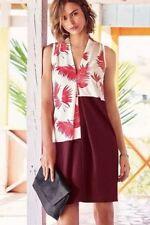 BNWT🌹Next🌹Size 12 Tall Women's Red & Berry Palm Print Day Dress 40EU New