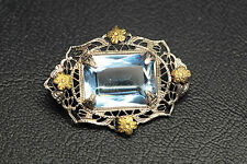 Early Edwardian Color Change Filigree Pin Brooch Sapphire Alexandrite Paste