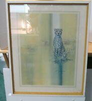"Vintage 1973 Phil Prentice Framed Print Leopard Animal 21""L x 17""W"