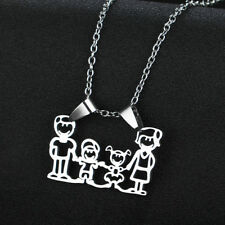 Stainless Steel Necklace Pendant Jewelry Parents Gift Son Daughter Family Love