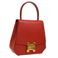 CELINE Macadam 2way Hand Bag Red Gold Leather Italy Vintage A44021j