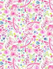 Breast Cancer Awareness Fabric - Evie Pink Ribbon Floral Timeless Treasures Yard