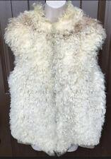 Stunning Vintage Curly Real Sheep Fur Reversible Khaki Bomber Vest Jacket M