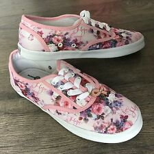 Bradford Exchange Art Sneakers Shoes Pink Floral LENA LIU Breast Cancer 7 M NEW