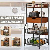 3/4 Tier Kitchen Storage Tower Rack Home Microwave Oven Organizer Shelf Holder