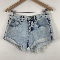 Decjuba Womens Denim Shorts Size 8 Light Blue Distressed