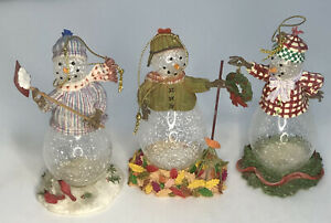 Vintage Princess House Heritage 3 Crystal Snowpeople Ornaments 2437 Mint
