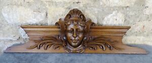 "28"" Antique French Hand Carved Wood Solid Walnut Pediment - Woman's Face 19th"