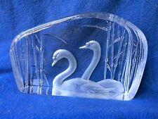 Scandinavian  crystal glass Kosta Mats Jonasson signed large swans paperweight