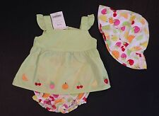 NWT Berry Sweet 0-3 Months Green Top & Fruit Bloomers Romper & Hat