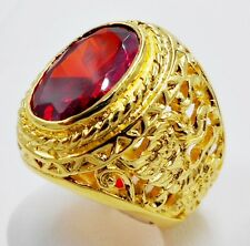 MEN RING EAGLE YELLOW SAPPHIRE 24K YELLOW GOLD FILLED GP ELVIS SOLITAIRE # 12.75
