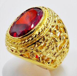 MEN RING EAGLE ORANGE SAPPHIRE 24K YELLOW GOLD FILLED GP SOLITAIRE ELVIS SIZE 10
