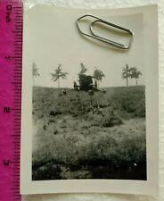029 Ww2 Orig. Photo German Soldier Grave Helmet Cannon Gun Text 2.5 x 3.5 inch