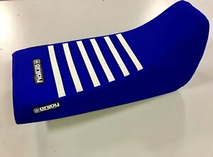 1988 - 2006 YAMAHA Blaster Seat Cover by Enjoy Mfg ALL BLUE / WHITE RIBS GRIPPER
