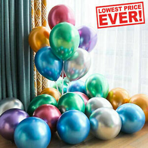 "6-50 pcs 12"" Metallic Pearl Chrome Latex Balloons for Wedding Birthday Party FUN"