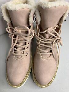 ALDO PINK SUEDE  Lace Up Faux Fur TRIMMED  Ankle Boots Women's Size 9