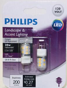 2 Pk Philips 2.2W 3000K T4 LED G8 Bi Pin Base Halogen Replacement Bulbs
