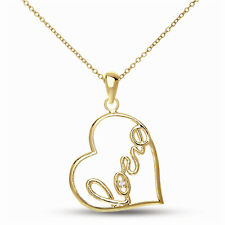 """Rozzato .925 Silver with Gold Plating Clear Round CZ """"LOVE"""" Heart Pendant"""