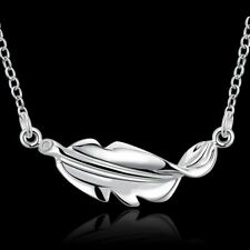 Fashion 925 Silver plated Jewelry Leaf Pendants Necklace For Women N726