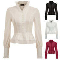 Elegant Steampunk Blouse Victorian Gothic Vintage Womens Top Shirt Ruched Sleeve