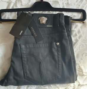 VERSACE Medusa 3D Black Waxed Coated Jeans - Made In ITALY Brand New