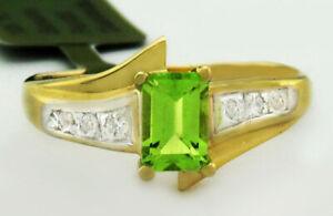 GENUINE 0.72 Cts PERIDOT & DIAMONDS RING 10k GOLD * Free Certificate Appraisal *