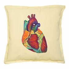 Khaki Decorative Throw Pillows Cushion Case Colorful Human Heart Printed VPLC_02