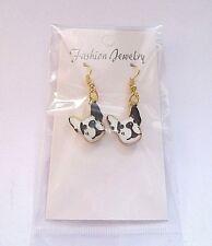 Bulldog / Dog Enamel Hook Earrings Brand New Striking Boston Terrier / French