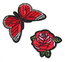 Red Rose and Butterfly Embroidery Sew, Iron On Patch for Clothes, Jeans Fabric