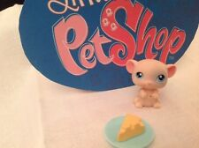 New listing Littlest Pet Shop Lps # 102 Pink Mouse with Dish of Cheese