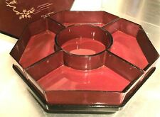1980s YAMANAKA Lacquerware LAZY SUSAN Red & Black Lacquer Food Server with Lid