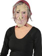 Hexe Hexenmaske Oma alte Frau Großmutter mit Haar und Kopftuch 40601.02