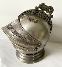 "Vintage Knight Helmet Decanter Set. Music Box Plays ""How Dry I Am� Mcm Barware"