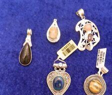 5 Gemstone Sterling Silver Pendant Lot Tiger eye, Chrysocola, Jasper, Amethyst