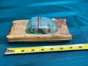 VINTAGE YELLOW LINCOLN XL-500 CONVERTIBLE SUN DECK TIN FRICTION TOY CAR