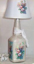 Liquor Bottle Light Chic Floral Night Glass Home Decor 40 Watt Light Shabby Lamp