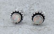 EXOTIC 925 STERLING SILVER WHITE  OPAL STUD EARRINGS  style# e1070