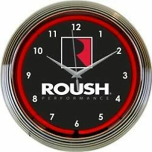 Neon Clock - Roush Performance Logo Mustang Red Neon * Mustang * FREE USA SHIP!