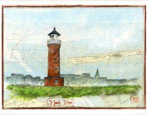 """Kunstdruck """"Leuchtturm Juist"""" - von OLE WEST - (2036)"""