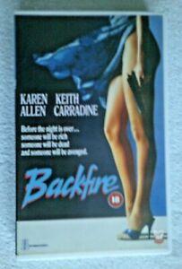 KAREN ALLEN KEITH CARRADINE BACKFIRE COLLECTABLE VHS 18 1987 LARGE CASE