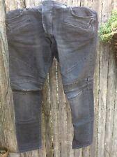 Pierre Balmain Mens Distressed Black Biker Jeans Size 36