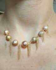 Freshwater pink Kasumi like pink pearl solid 14k gold fringe tassel necklace
