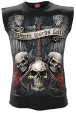Spiral Direct UNSPOKEN Mens Sleeveless/Rock/Biker/Goth/Wings/Tattoo/Skull/Top
