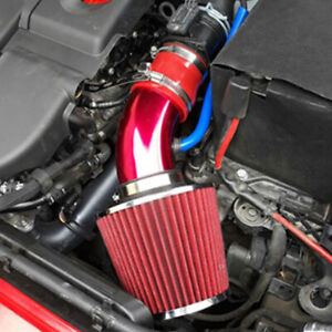 76mm Car Red Cold Air Intake Filter Induction Aluminum Pipe Power Flow Hose Kits
