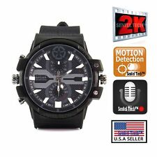 2K Resolution Full HD Spy Camera Men's Waterproof Watch with Motion Detection